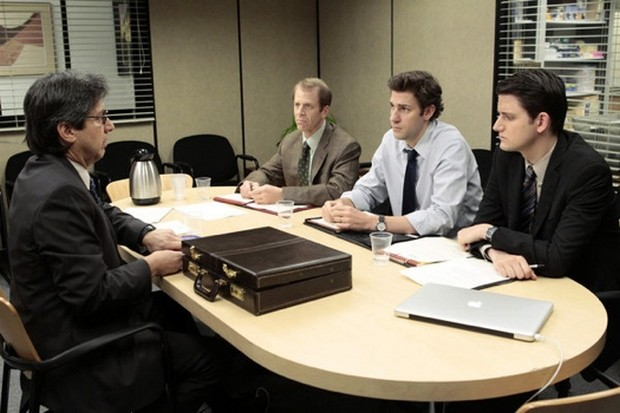 "THE OFFICE -- ""Search Committee"" Episode 725/726 -- Pictured: (l-r) Ray Romano Merv Bronte, Paul Lieberstein as Toby Flenderson, John Krasinski as Jim Halpert, Zach Woods as Gabe Lewis -- Photo by: Chris Haston/NBC"